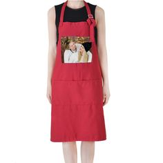 Personalised Adult Apron With Pocket and personalized photo Red color #Unbranded