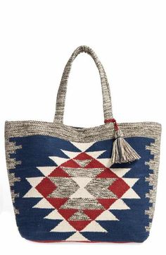 I want this print on the seat of dining chairs!!! -Sole Society Rees Woven Geometric Tote