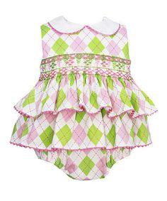 Look at this #zulilyfind! Green & Pink Argyle Skirted Bodysuit - Infant #zulilyfinds