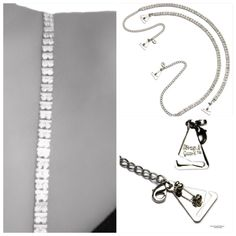 Two Row Crystal Straps w/ Space Bar (with Pin-Latch Bra Hooks) for Dress, Tops, Gowns
