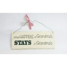 Wooden Sign Decor 10x4 inch What Happens At Grandma's Stays At Grandma's #Unbranded #Contemporary