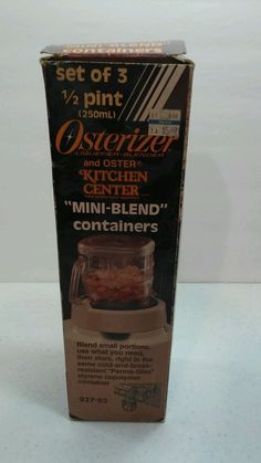 3 Vtg Plastic Oster Blender Osterizer Mini 8 oz Blend & Store Containers Jars #Osterizer