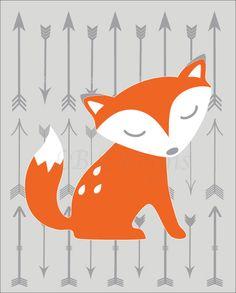 Gray and Orange Fox Woodland Nursery Print-8x10 by LJBrodock on Etsy