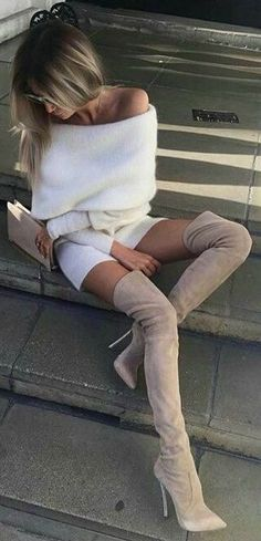 off the shoulder sweater dress + suede over the knee boots