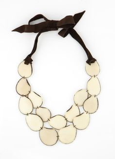 Ivory White SACHA Style Natural Tagua Statement Necklace on Etsy, $58.00