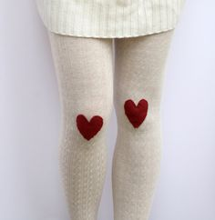 a lion's nest: Heart patch tights