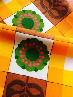 60s Cute Swedish vintage fabric with a mod floral pattern. on Etsy, $92.53