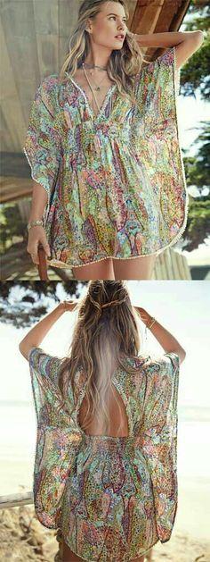nice Love this gorgeous swim cover up dress rstyle. Swimwear Cover Ups, Swimsuit Cover Ups, Swim Cover Up Dress, Bohemian Mode, Summer Dress Outfits, Estilo Boho, Beach Dresses, Mode Style, Summer Wear