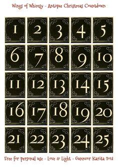 Etiquette Vintage, Calendar Numbers, Christmas Countdown Calendar, Antique Christmas, Christmas Mantles, Vintage Paper Dolls, Christmas Printables, Vintage Images, Free Printables