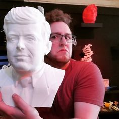 JFK in 3D. Printed a full scale on a CreatBot in our 3D Printer Superstore. #3d #3dprinter #3dprinting #creatbot #corexy #3dprint #pla #3dprinterfilament  #jfk #selfie  #3dscan  #minime #sculpture by 3dprintersuperstore