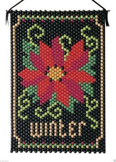 Winter Poinsettia Beaded Banner Kit The Beadery Craft Products 7139 Pony Bead Projects, Pony Bead Crafts, Beaded Crafts, Pony Bead Patterns, Peyote Patterns, Beading Patterns, Seed Bead Art, Beaded Banners, Peler Beads