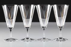 4 Vintage Sektgläser Wellen Gold Weiß Dekor Sektglas Gläser ~ 50er Jahre W8A
