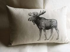 Moose pillow, using a vintage illustration from a dictionary, by SparrowAvenue.