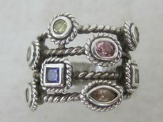 Sterling Silver Multi Colored Stone Ring 7265