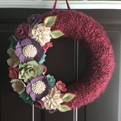 Succulent yarn wreath by wiltedrosewreaths on Etsy