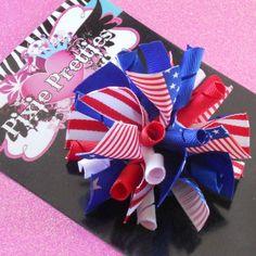 Patriotic PomPom Korker Hair Bow