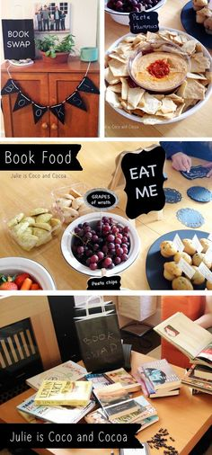 Book swap party and book themed food