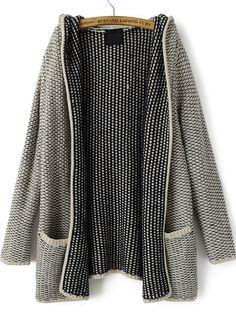 Kapuzen-Strickjacke mit Taschen, grau 27.06