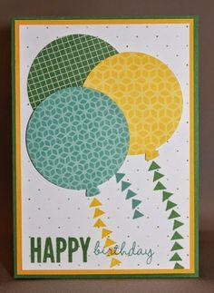 Stampin Up, Celebrate Today stamp set, Balloon Framelits Dies, Flowerpot