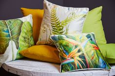 CUSHIONS-The Botanical Collection  Botanical Bird Of Paradise Pattern on single side with plain cream reverse Silk Effect Fabric  Create an exotic oasis with the exquisitely vibrant Bird Of Paradise floral colours   Botanical Curling Fern Leaf Pattern on single side with plain cream reverse Silk Effect Fabric Machine Wash 30~ Cover Only 45cmx45cm Cover With Polyester Filling Lush fern green brings an instant breath of fresh air while also adding wonderful visual impact