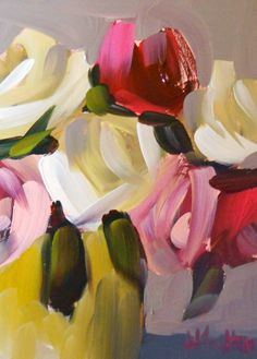 roses in pottery crock | angela moultons painting a day