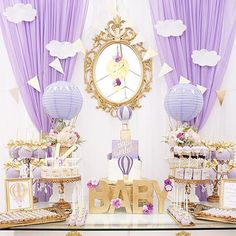 Gorgeous Purple and Gold Hot Air Balloon Baby Shower from @mjkreations #babyshower #hotairballoonbabyshower #purpleandgoldbabyshower #desserttable #abmlifeissweet #abmlifeisbeautiful #abmlifeiscolorful #petitejoys #kidsparty #kidspartyideas #partyideasgro