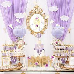 Elegant Gold And Lavender Baby Shower