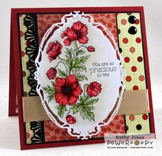 Inspired to Stamp: Power Poppy Release Day! Poppies stamp set by Power Poppy, card design by Kathy Jones.