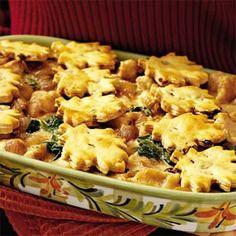 Turkey Pot Pie with Cranberry-Pecan Crusts | MyRecipes.com
