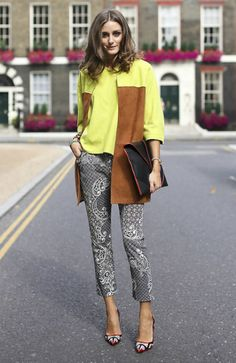 Olivia Palermo wearing Topshop Paisley Cigarette Trousers Reiss Arleta Envelope Clutch Manolo Blahnik Amiela pumps Rolex Oyster Perpetual Datejust watch  Topshop Unique show London Fashion Week September 16 2012