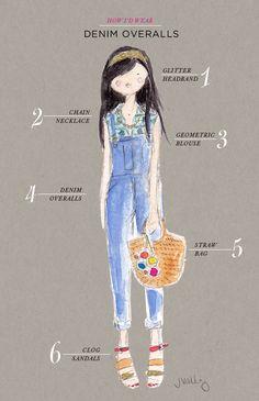 Oh Joy How I'd Wear Denim Overalls Illustrations by Jen Vallez Overalls Outfit, Denim Overalls, Denim Outfit, Overalls Fashion, Dungarees, Fashion 101, Girl Fashion, Fashion Design, 90s Fashion