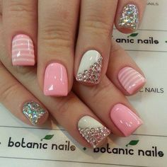 Pink and white design with stones