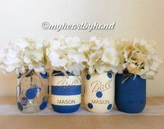 Nautical Baby Shower Centerpiece, Navy Blue and Cream White, Distressed Mason Jar Centerpieces, Painted Ball Jars, Rustic Home Decor
