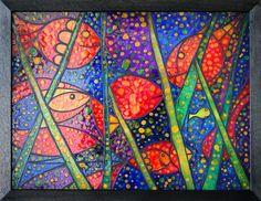 "'GLASS PAINTING ""FISHES"" ' by marachowska on artflakes.com as poster or art print $35.65"