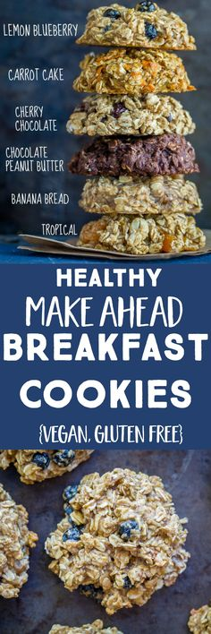 These Healthy Make Ahead Breakfast Cookies are perfect for an easy grab and go breakfast or a healthy afternoon snack! They're great for both adults and little kids! I've provided you with 6 delicious flavors that are all vegan, gluten free and refined s Breakfast And Brunch, Healthy Make Ahead Breakfast, Healthy Afternoon Snacks, Breakfast Cookies, Brunch Food, Breakfast Ideas, Brunch Nyc, Detox Breakfast, Healthy Brunch