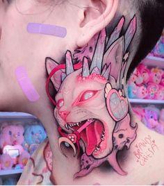 Cat Tattoos Meaning – The Wild Tattoo – Tattoo - diy tattoo project Body Art Tattoos, New Tattoos, Hand Tattoos, Cousin Tattoos, Kitty Tattoos, Dragon Tattoos, Diy Tattoo, Tattoo Ideas, Goth Tattoo