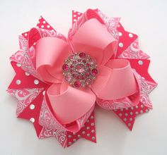 Pink Boutique Hair Bow   Dressy Pink by JustinesBoutiqueBows