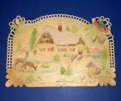 Vintage German Pressed Cardboard Die Cut Scenic Calendar.  $150.00. I purchased one like this 15 years ago for under $50.00.