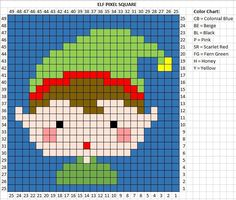 Day 5 of Crochet Elf Pixel Square - Repeat Crafter Me Christmas Crochet Patterns, Christmas Knitting, Christmas Cross, Crochet Christmas, Christmas Elf, Holiday, Cross Stitch Cards, Cross Stitching, Cross Stitch Embroidery