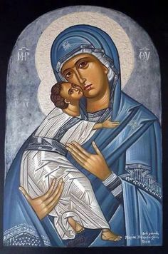 Religious Images, Religious Icons, Religious Art, Byzantine Art, Byzantine Icons, Blessed Mother Mary, Blessed Virgin Mary, Religion Catolica, Mary And Jesus