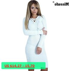 4 Colors Warm Knitted Dresses For Women Robe Female Winter Christmas Dress Vestidos Lace Up Bodycon Bandage Pencil Party Dress