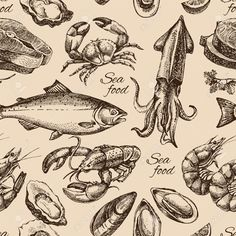 Hand Drawn Sketch Seafood Seamless Pattern. Vintage Style Vector ...