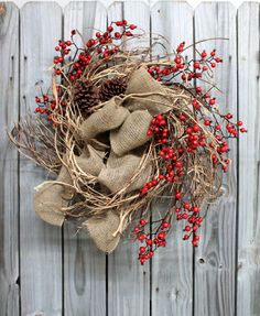 Natural Honeysuckle & Red Crabapples, Winter and Christmas Wreath! http://floralsfromhome.com