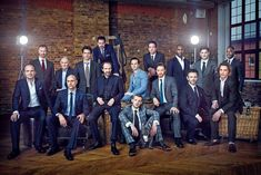 From left to right: Rory Kinnear, Mark Gatiss, Tim Pigott-Smith, Mark Strong, Julian Ovenden, Bertie Carvel, Ralph Fiennes, Andrew Scott, Russell Tovey, Matthew Macfadyen, James McAvoy, Nicholas Pinnock, Michael Sheen, Iwan Rheon, Jamie Campbell Bower, Roland Bell.