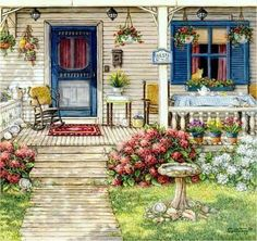 Janet Kruskamp - Front Porch In Maine Art Print. Explore our collection of Janet Kruskamp fine art prints, giclees, posters and hand crafted canvas products Painting Prints, Art Prints, Oil Paintings, Arte Country, Beautiful Paintings, Interior And Exterior, Folk Art, Illustration Art, Sweet Home