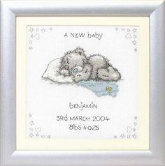 Cross Stitch Monkey Birth Sampler | cross stitch kits tatty teddy me to you bears a new baby birth sampler ...