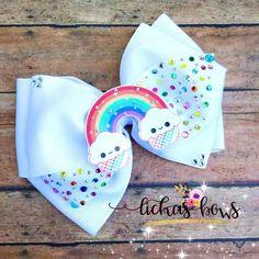 Rainbow and clouds bow Hair Ribbons, Diy Hair Bows, Diy Bow, Ribbon Bows, Rainbow Bow, Bow Jewelry, Diy Headband, Headbands, Boutique Bows