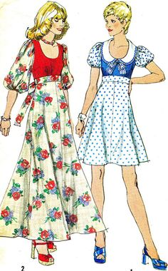 Vintage Sewing Pattern 1970s Simplicity 6267 Boho Maxi Dress, Mini Dress…