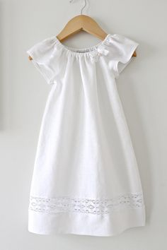 Baby Girl Baptism DressSoft White Pure Linen and by ChasingMini, $95.00