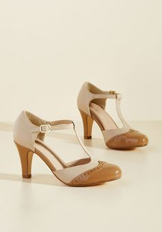 Chelsea Crew Vivacious Vibes T-Strap Heel in Tan in 40 - Mid Heel - Over 2 -3 by Chelsea Crew from ModCloth